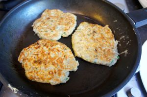 Boxty blinis cooked in frying pan