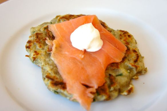 Boxty blini with smoked salmon and sour cream