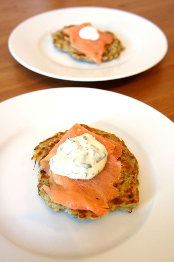 Boxty blinis with smoked salmon