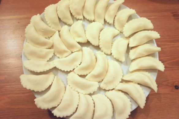 Finished but uncooked perogies