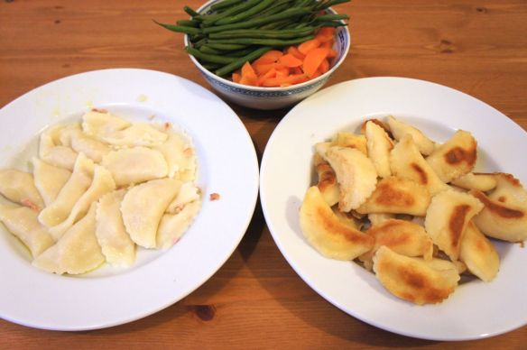 Boiled and pan-fried gluten-free perogies