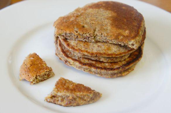 Paleo banana flax pancakes cut